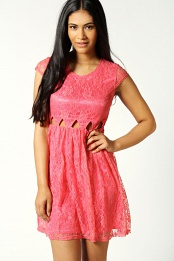 Coral Faye Cut Out Waist Lace Skater Dress