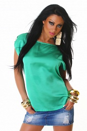 Green Satin Crew Neck Blouse