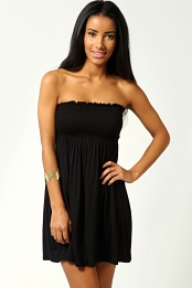 Black Lucy Shirred Bandeau Short Beach Dress