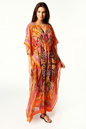Orange Dolly V Neck Paisley Neon Kaftan Dress
