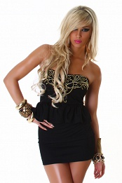 Black Strapless Peplum Dress With Gold Pattern