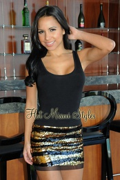 Black Gold Banded Sequins Dress