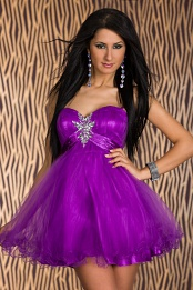 Purple Babydoll Puffy Lace-Up Prom Dress On Thin Straps