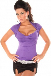 Purple Sexy Bolero Top Short Arms