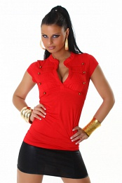 Red Sexy Army Style Top