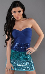 Blue Sexy Bandeau Knitted Dress With Sequins
