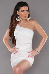 White One Shoulder Sequined Club Dress