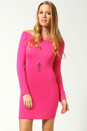 Pink Alice Off The Shoulder Long Sleeve Bodycon Dress