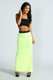 Yellow Leanne Neon Jersey Maxi Skirt