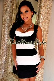 Black White Stripes Bandage Dress