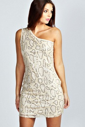 Cream Lucy Animal Sequin One Shoulder Dress
