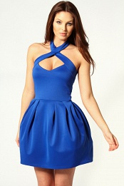 Blue Amanda Halter Neck Lantern Dress