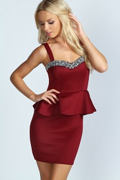 Berry Mollie Embellished Top Peplum Dress