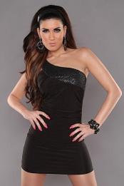 Black One Shoulder Sequined Club Dress